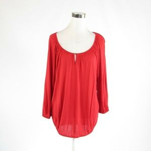 Ralph Lauren red knit blouse M